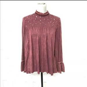 POL studded babydoll swing top Burgundy